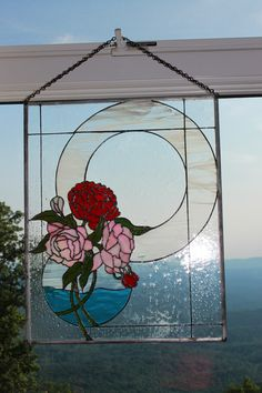 "Stained Glass Peonies.  Even more beautiful in person! Pattern from ""Contemporary Designs"" by Anna Croyle"
