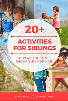 Want to encourage sibling play? 20 Activities Older and Younger Siblings Can Play Together! Great and easy kids activities siblings can do together regardless of age or sex. Bonding Activities, Fun Activities For Kids, Infant Activities, Family Activities, Learning Activities, Fun Learning, Outdoor Activities, Sibling Fighting, Sibling Relationships