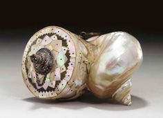 A Mother-of-Pearl Silver Mounted Powder Flask India, Gujarat or Rajasthan, 18th Century