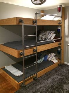 Layered bunk beds are the ultimate space saver for multi-child households. Plus, if they are combined with futons, or full sized beds, you have plenty of extra space to use it as a guest bed when company calls.