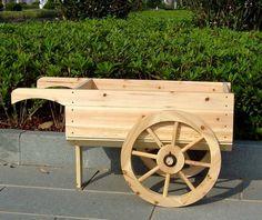 Wooden Wheelbarrow Planter, Decorative Display Cart
