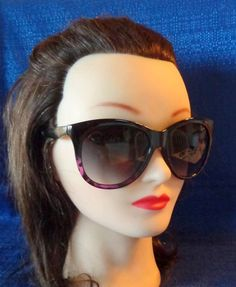 Vintage Large Black & Purple Cat Eye Sunglasses by TraderTrudys