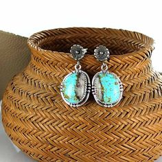 ROYSTON RIBBON TURQUOISE Earrings Sterling Flower from New World Gems