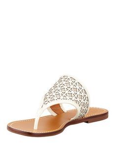 Amara Laser-Cut Patent Thong Sandal, Ivory/Natural by Tory Burch at Neiman Marcus. 265.00