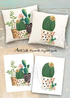2 Printable Images Digital Sheets CACTUSES to print on fabric or paper, Iron On Transfer for tote bags t-shirts pillows, wall art decor - ♥Welcome to ArtCult – Printable digital goods on Etsy!♥ ArtCult Printable Images are great fo - Arts And Crafts Projects, Diy And Crafts, Decor Crafts, Diy Projects, Cactus Art, Fabric Painting, Wall Art Decor, Room Decor, Printing On Fabric