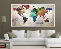 Grand mur art monde carte push pin Extra grand tableau voyage