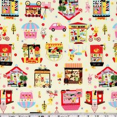 It's the perfect day to take a bike ride through town! Featuring a hot dog stand, church, cake shop, ice cream shop, flower shop, barber, toy shop, green grocer, and bread cart, there's something for everyone! This medium weight Japanese fabric is 100% lightweight cotton canvas and is 43/44