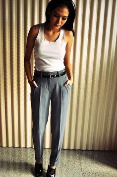 high waist slacks | High Waisted Pants Fashion Holiday Gray Trousers 4 S Pleat Etsy ...