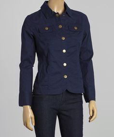 This Matte Navy Denim Jacket - Women by Live A Little is perfect! #zulilyfinds