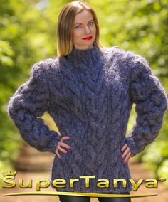 Handmade mens mohair wool cable knit sweater by supertanya on Etsy