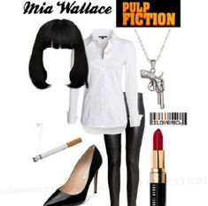 costume Mia Wallace - Pulp Fiction - Party Fashion via typeaparent by coloradomoms Halloween Outfits, Couple Halloween, Halloween Diy, Group Halloween, Pulp Fiction Halloween Costume, Party Fashion, 90s Fashion, Mia Wallace Costume, 90s Fancy Dress