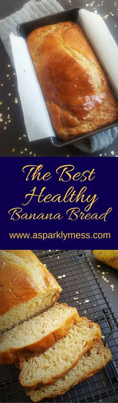 Quick and Easy Healthy Banana Bread, No sugar, no oil and made in one bowl for easy clean up. This is it people! This is my most delicious Healthy Banana Bread recipe. Banana Bread With Oil, Healthy Banana Bread, Banana Bread Recipes, Healthy Treats, Healthy Recipes, Baking Recipes, Dessert Recipes, Delicious Desserts, Yummy Food
