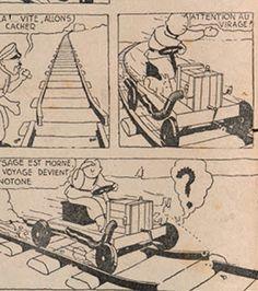 Planche originale dessin Hergé wagon draisine Tintin Soviet