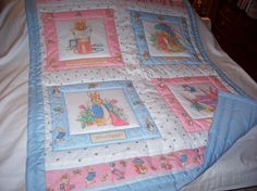 Handmade Beatrix Potter and Peter Rabbit Baby/Toddler Quilt-Newly Made in 2013 on Etsy, $45.00