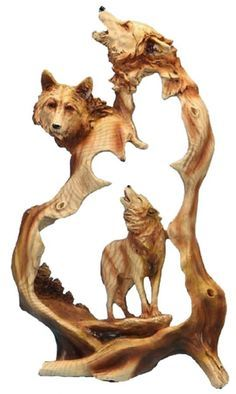 The Three Wolves Howling Carved Sculpture features three wolves! It makes a beautiful way to represent your love of wildlife and the great outdoors. This creative and attractive sculpture makes a grea (Outdoor Wood Sculpture) Afrique Art, Antler Art, Wood Carving Art, Wood Carvings, 3d Studio, Wolf Howling, Wooden Art, Wood Sculpture, Sculpture Ideas