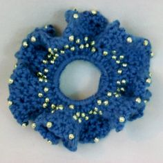 Blue Crochet Scrunchie Beaded Hair Ponytail Holder