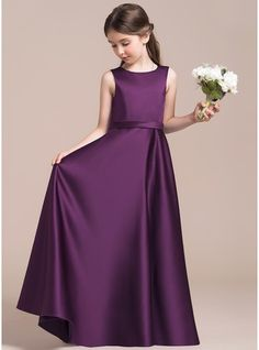 A-Line/Princess Scoop Neck Floor-Length Zipper Up Regular Straps Sleeveless No Grape General Satin Junior Bridesmaid Dress