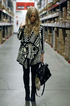 Black and White Tribal Print #style #fashion #outfit