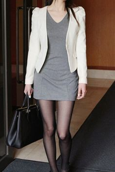 Beige Puff Long Sleeve Solid Color Blazer
