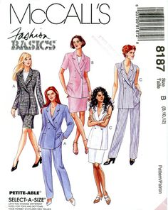 Sewing Pattern - Misses 1996 Lined Jacket, Skirt and Pants, McCall's 8187 Sizes 8-12