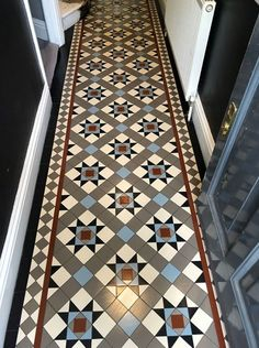 We specialise in Victorian Hallway Tiles and we offer an expert services in sorcing and laying traditional Victorian floor tiles hallway Victorian Tiles Bathroom, Victorian Mosaic Tile, Art Deco Bathroom, Small Bathroom, Bathroom Ideas, Hall Tiles, Tiled Hallway, Hallway Flooring, House Extension Design