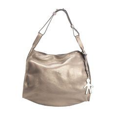 Soft grained calf leather shoulder bag, pearly vegetable finishing. Adjustable shoulder strap. Removable logo charm. Zip top closure.