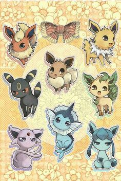 Eevee evolutions, Flareon, Jolteon, Glaceon, Leafeon, Umbreon, Espeon, Vaporeon, cute; Pokémon