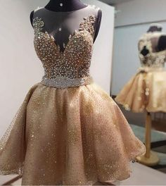 Champagne Beaded Homecoming Dresses,V-neck Sleeveless Homecoming Dresses on Storenvy
