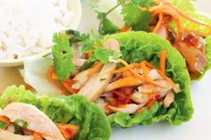 The family will love preparing these simple chicken lettuce cups with sweet chilli sauce from Curtis Stone.