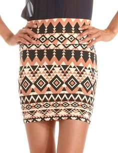 Aztec Cotton Spandex Mini Skirt: Charlotte Russe
