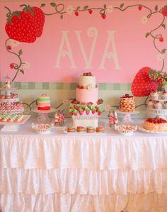 Photo 1 of 21: Strawberry Shortcake / Birthday Avas Strawberry Shortcake Party | Catch My Party