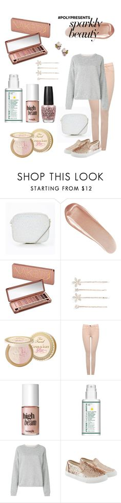 """""""#PolyPresents: Sparkly Beauty"""" by joannchilada ❤ liked on Polyvore featuring beauty, NARS Cosmetics, Urban Decay, Cara, Too Faced Cosmetics, M&Co, Benefit, Peter Thomas Roth, OPI and Laneus"""