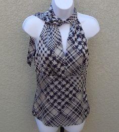 Antonio Melani Women's Black White Gray Plaid Casual Blouse Size 2 #AntonioMelani #Blouse #Casual