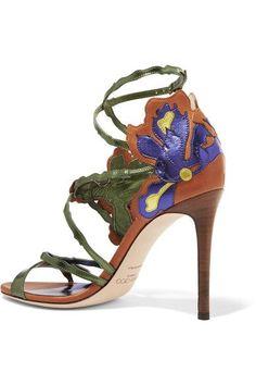 Jimmy Choo - Lolita Appliquéd Metallic Leather Sandals - Purple - IT36.5