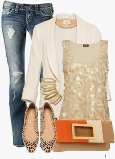 Leopard flats, Gold/Beige sequin tank, White blazer, Darkwash distressed skinnies| Tan &Orange colorblock clutch, Gold multi-bangles |  Night Outfit