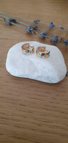 Mini Hoop Earrings, Circle Earrings, Rose Gold Earrings, Blue Polka Dots, My Etsy Shop, Handmade Jewelry, Check, Hand Print Ornament, Handmade Jewellery