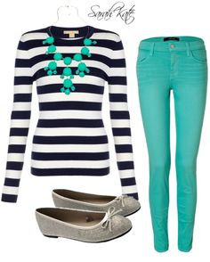 """Teal and Stripes!"" by sarahkate2001 on Polyvore"