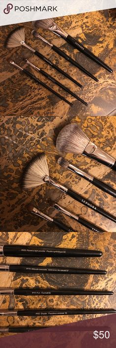 Sephora Pro Brushes (5) 5 Sephora Pro Brushes. #50 flawless light powder, #57 airbrush concealer, #65 fan, #18 shader, and #15 small shadow. All 100% authentic and washed/disinfected. Very minimally used. Sephora Makeup Brushes & Tools