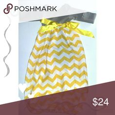 Yellow Chevron Print Gown Adorable chevron stripped gown. Top part is a long sleeve gray onesie. Bottom part is chevron print with elastic around bottom. Has attached yellow ribbon that can be tied how you would like. Size is xs ( 0 to 3 months) . Chevron print start to bottom is 25 inches long. . Dresses