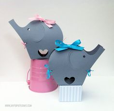 Gray Elephant Baby Shower gift boxes. Baby shower, gifts, first birthday, safari. Elephant Ribbon boxes. Treats, favors, gift bags. Set 5.