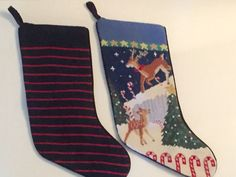 Christmas Stocking Lands End Needlepoint Wool Unmonogrammed Striped or Reindeer #LandsEnd