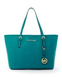 7d7c9a263f1e Michael Michael Kors Jet Set Travel Tote Aqua Saffiano Leather detail, this  color is calling my name, yes!