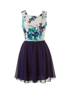 NAVY BLUE AND FLORAL PRINTED BELTED SKATER DRESS #ustrendy www.ustrendy.com