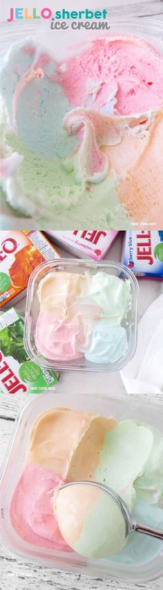 This is the most delicious homemade ice cream. This homemade JELLO SHERBET ICE CREAM recipe is so easy. There are instructions to shows you how to make it with or without an ice cream maker and it uses only 4 ingredients! Beaux Desserts, Köstliche Desserts, Frozen Desserts, Frozen Treats, Delicious Desserts, Dessert Recipes, Yummy Food, Dishes Recipes, Recipes Dinner
