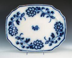 ANTIQUE BRUSHSTROKE FLOW BLUE IRONSTONE DAISY SEVEN PETALS PLATTER STAFFORDSHIRE in Pottery & Glass, Pottery & China, China & Dinnerware   eBay