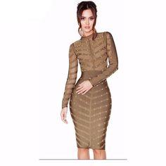 Long Sleeve Studded Mesh Rayon Bandage Bodycon Dress