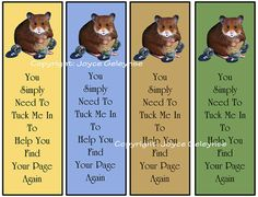 Printable Bookmarks Cute Hamster With Marbles: Kids Party Favors: by joyart, $3.00