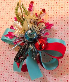Vintage Celluloid Deer Christmas Corsage FUN