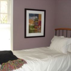 Guest room Benjamin Moore wet concrete paint--too purple or just right? Bedroom Green, Dream Bedroom, Master Bedroom, Benjamin Moore Bedroom, Small Bedroom Furniture, Bedroom Ideas, Brown Headboard, Black White Bedrooms, Dining Room Walls