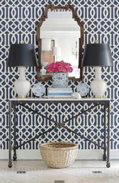 Kelly Wearstler Imperial Trellis II Ivory/Navy Wallpaper (comes in many colors) (Jessica Walmsley Interiors) (http://store.lynnchalk.com/kelly-wearstler-imperial-trellis-ii-ivory-navy-wallcovering/)